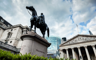 Bank of England Exterior and The equestrian statue of the Duke of Wellington. Macroprudential Policy
